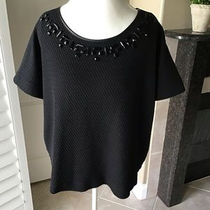 Lane Bryant 22/24 Black Bead Rhinestone Knit Top